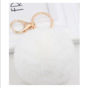 Faux Fur Round Pom Pom Keychain